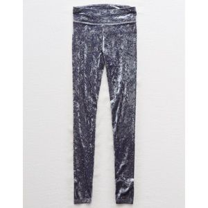 American Eagle Gray Velvet Hi-Rise Leggings